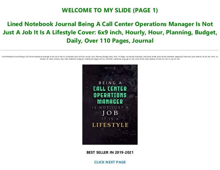Free Read Book [PDF] Lined Notebook Journal Being A Call Center Operations…