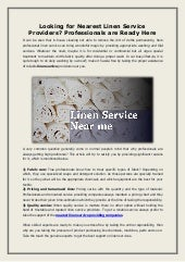 Looking for Nearest Linen Service Providers? Professionals are Ready Here