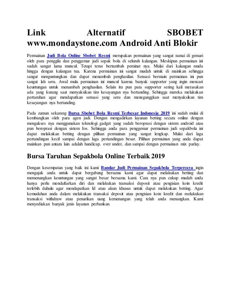 Link Alternatif Sbobet Www Mondaystone Com Android Anti Blokir