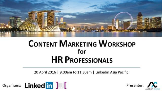 Content Creation Marketing Workshop for HR Professionals