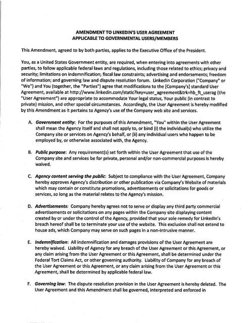 Amendment to LinkedIn User Agreement