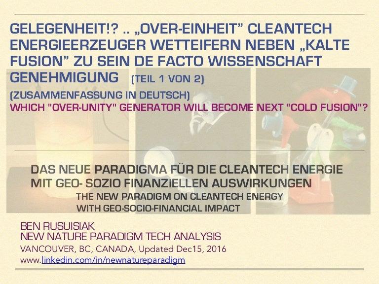 gelegenheit over einheit cleantech energieerzeuger wetteifern - Zusammenfassung Ben