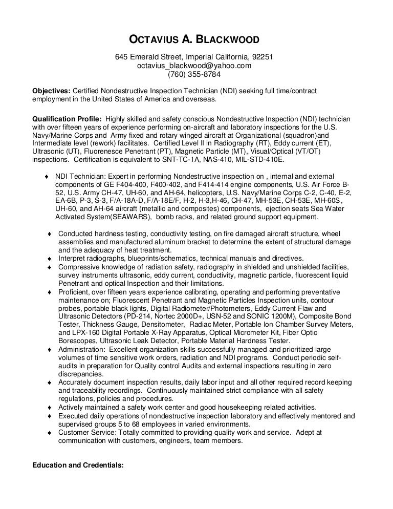 Ndt Technician Resume Example - Template