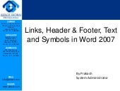Links, header&footer, text and symbols