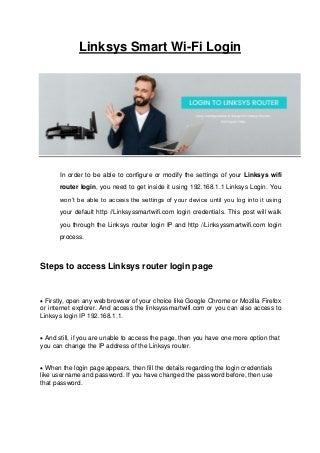 Linksys smart wifi login