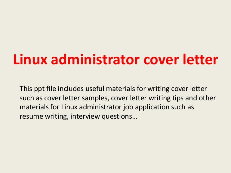 Cover Letter For Billing Specialist SlideShare Linux System Administrator  Resume Sample
