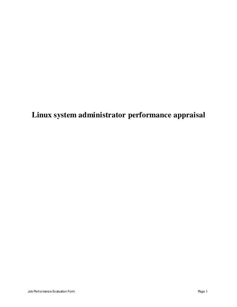 linux system administrator perfomance appraisal 2 linux administrator job description