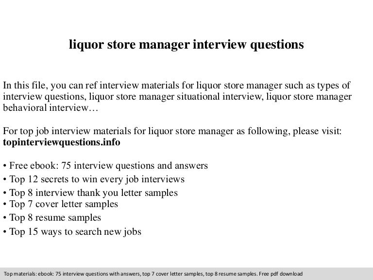 Liquor Store Manager Interview Questions