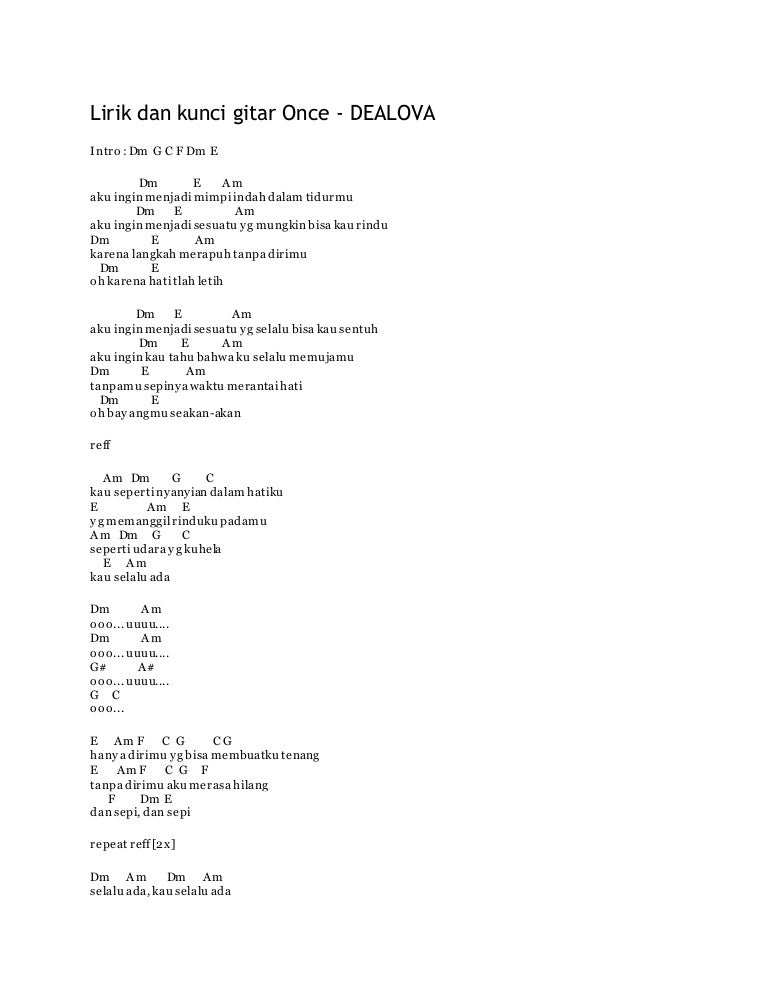 Lirik Dan Kunci Gitar Once