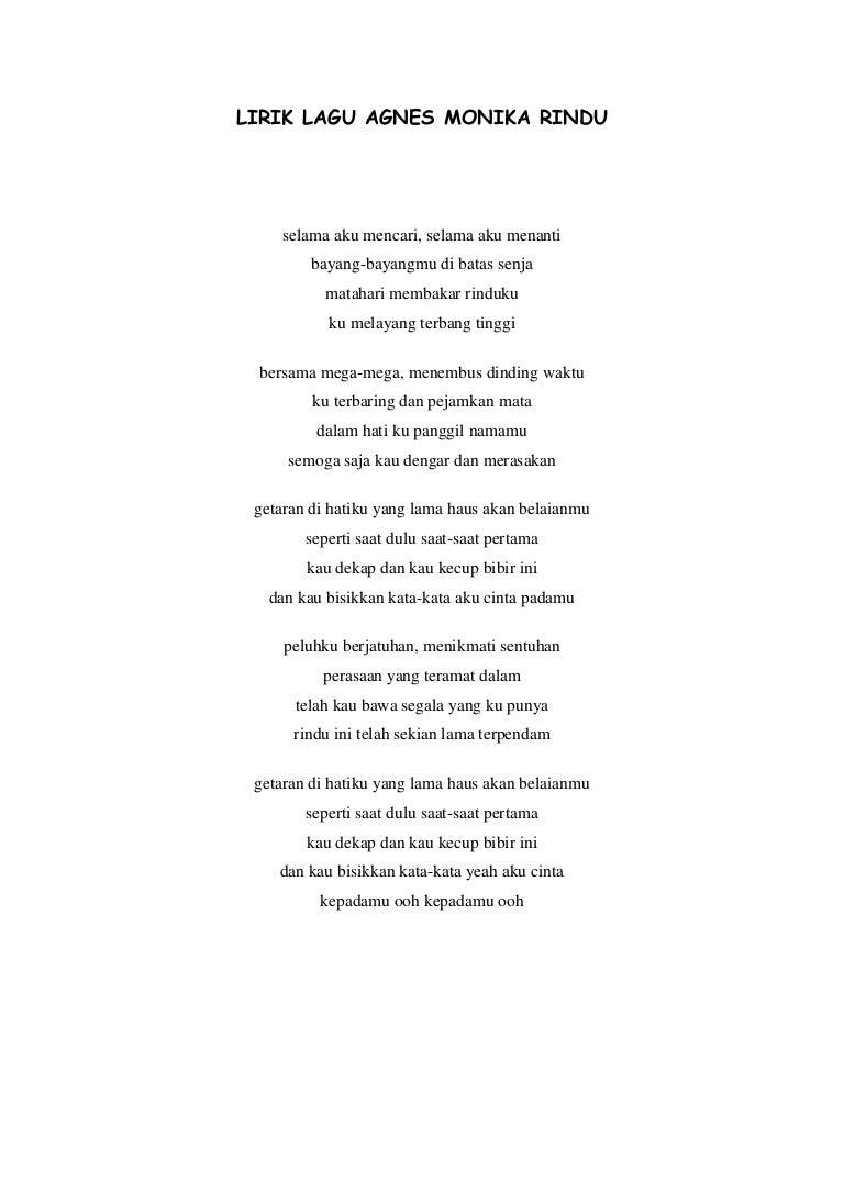 Lirik Lagu Agnes Monika Rindu