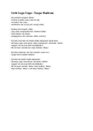 Lirik lagu ungu tanpa hadirmu ost romeo dan juminten