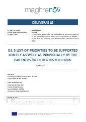 MAGHRENOV, deliverable 3.5: List of priorities to be supported jointly as well as individually by the partners or other institutions