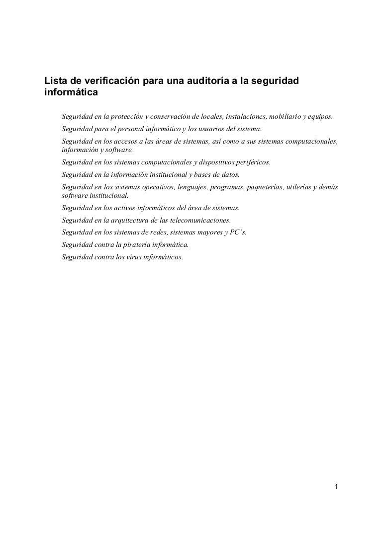 Lista de Verificación para una Auditoria