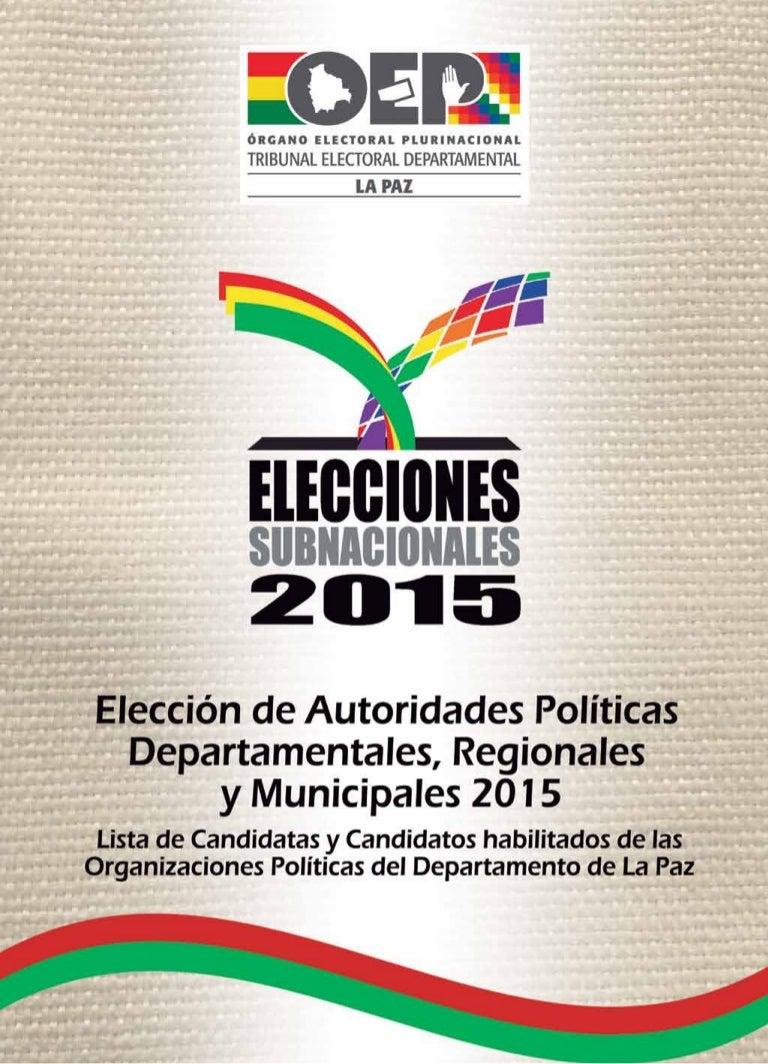 Lista de candidatos La Paz