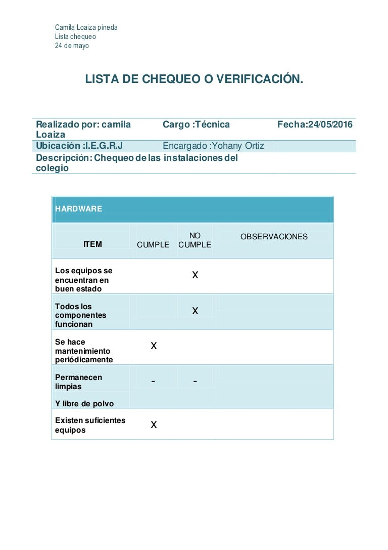 Lista de chequeo o verificación camila loaiza