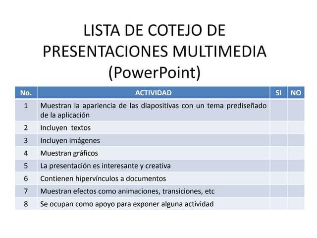 Lista de cotejo de presentaciones multimedia