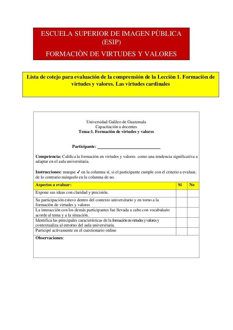 Lista De Cotejo Para Evaluaciòn Lecciòn 1 Virtudes Y Valores