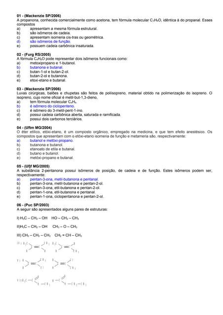 Lista de química organica   isomeria - josé antônio