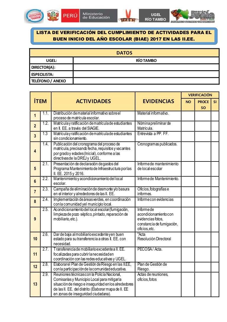 Lista de verificación para el biae ugel rio tambo word 2017