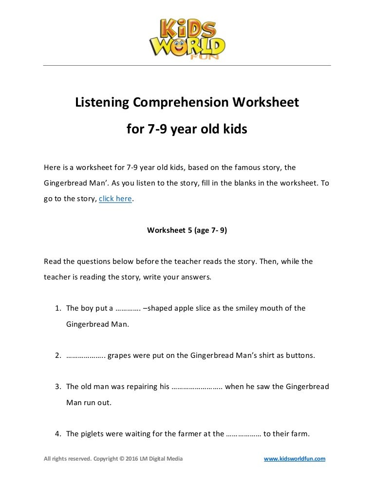 Listening Prehension Worksheet For 7 9 Year Old Kids