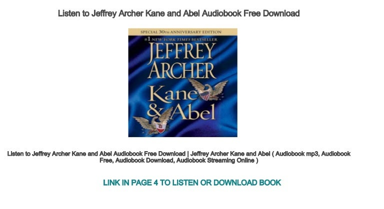 Kane and abel audio books free download.
