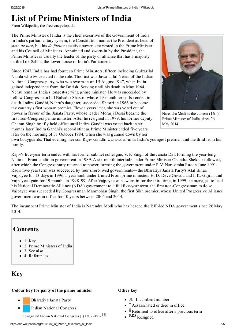 List of prime ministers of india1 wikipedia
