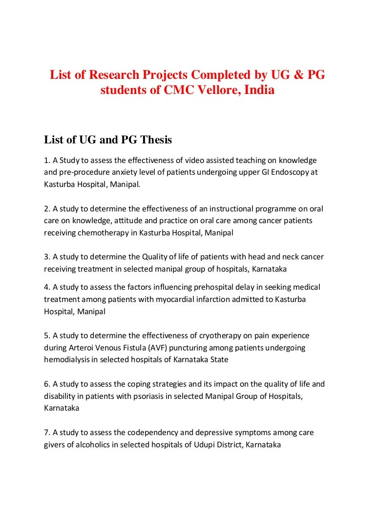 medicine thesis topics ntruhs