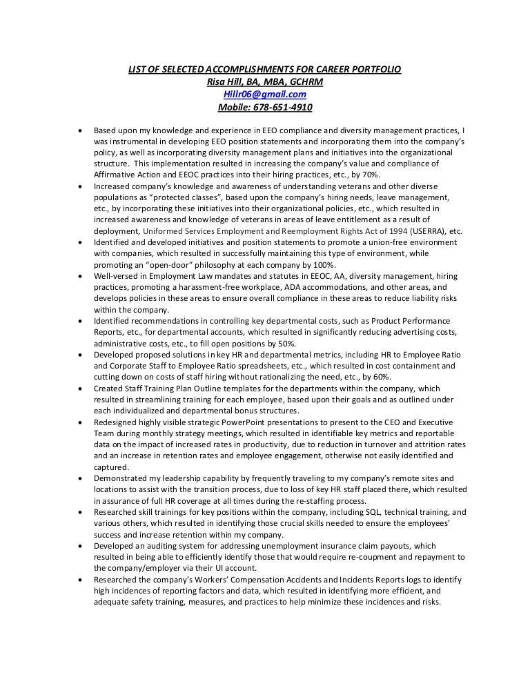 List of selected accomplishments for career portfolio 9.30.12