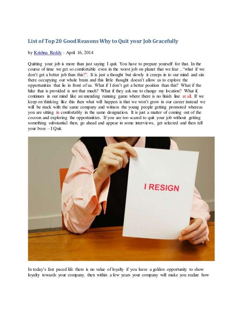 good reason to leave job