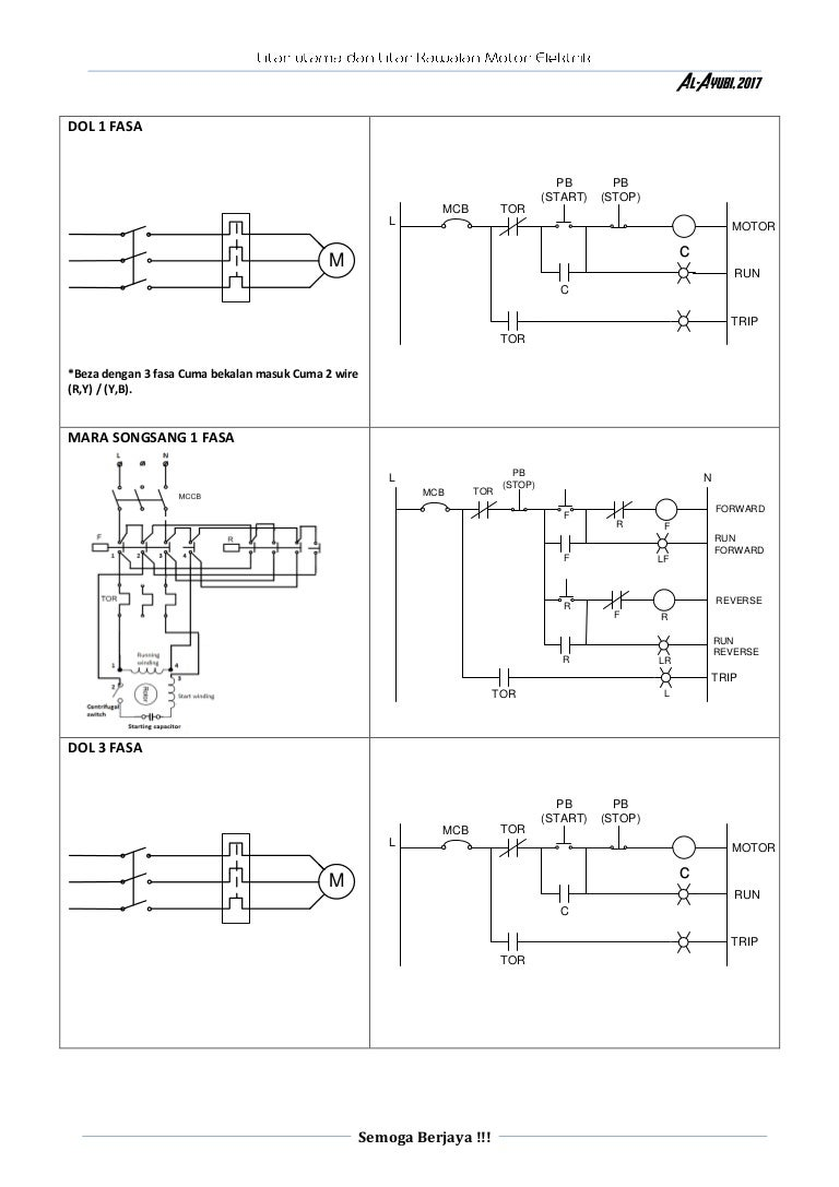 Litar utama dan litar kawalan motor elektrik