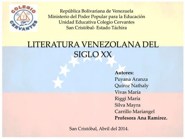 Literatura Venezolana del Siglo XX.