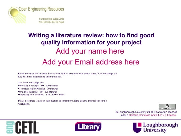writing a literature review loughborough university