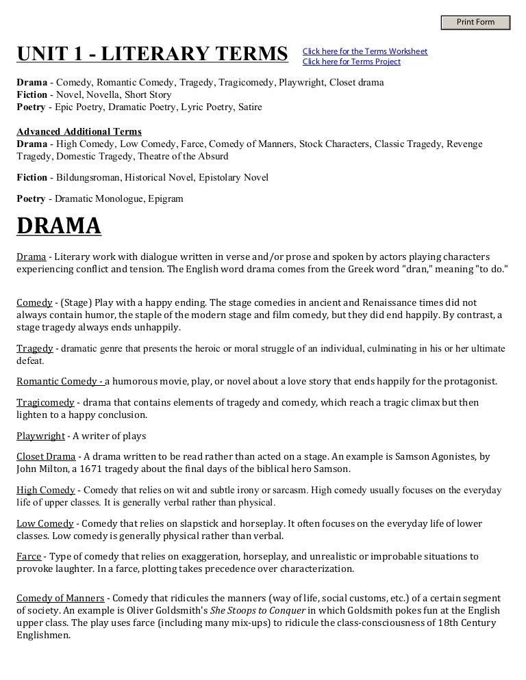 Lit Terms – Drama Terms Worksheet