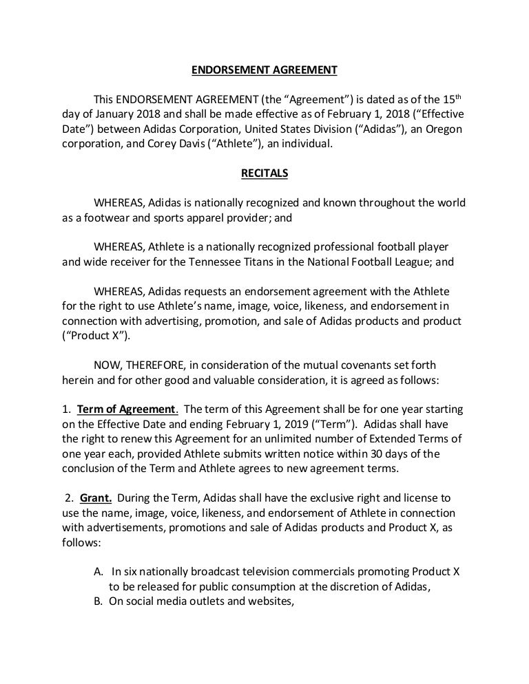 Drafted Endorsement Agreement