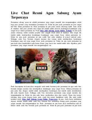 Live chat resmi agen sabung ayam terpercaya