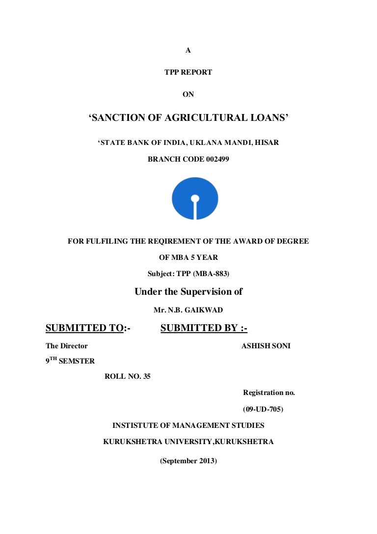 Project report on home loan of sbi