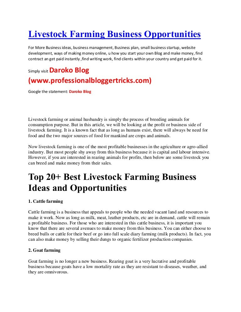 Mytopbusinessideas-Livestock Farming Business Opportunities In Kenya,…