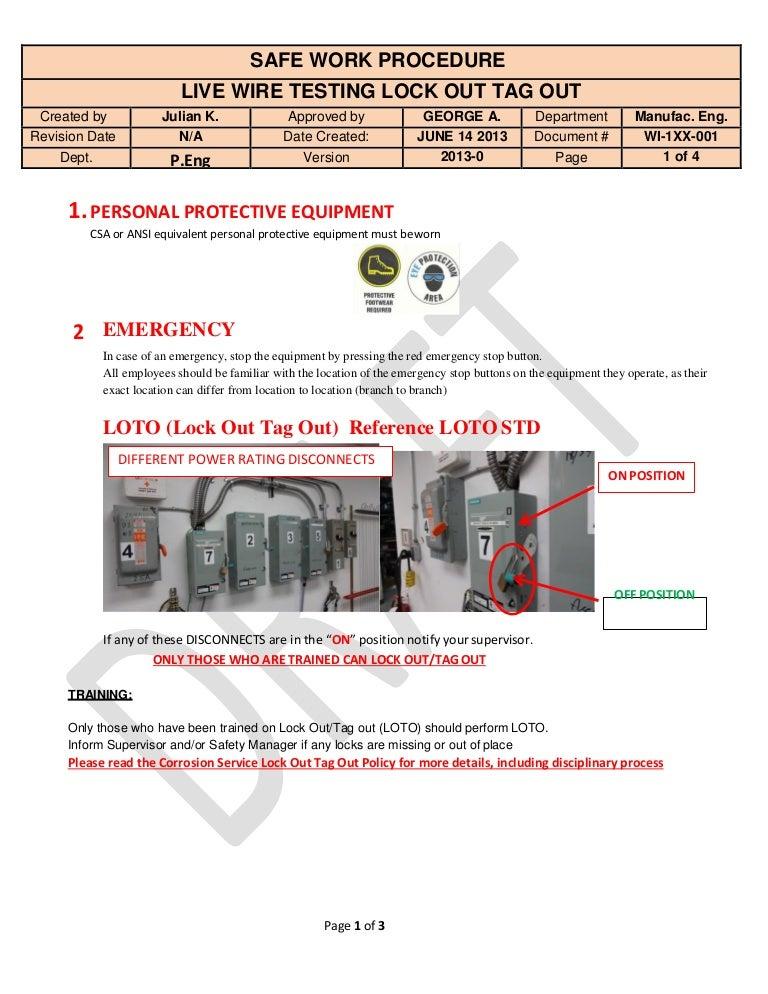 live wire testing lock out tag out safe work procedure. Black Bedroom Furniture Sets. Home Design Ideas