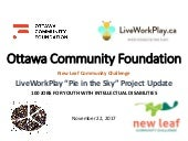 "LiveWorkPlay ""Pie in the Sky 100 Jobs Project Update: Ottawa Community Foundation New Leaf Community Challenge 2017"