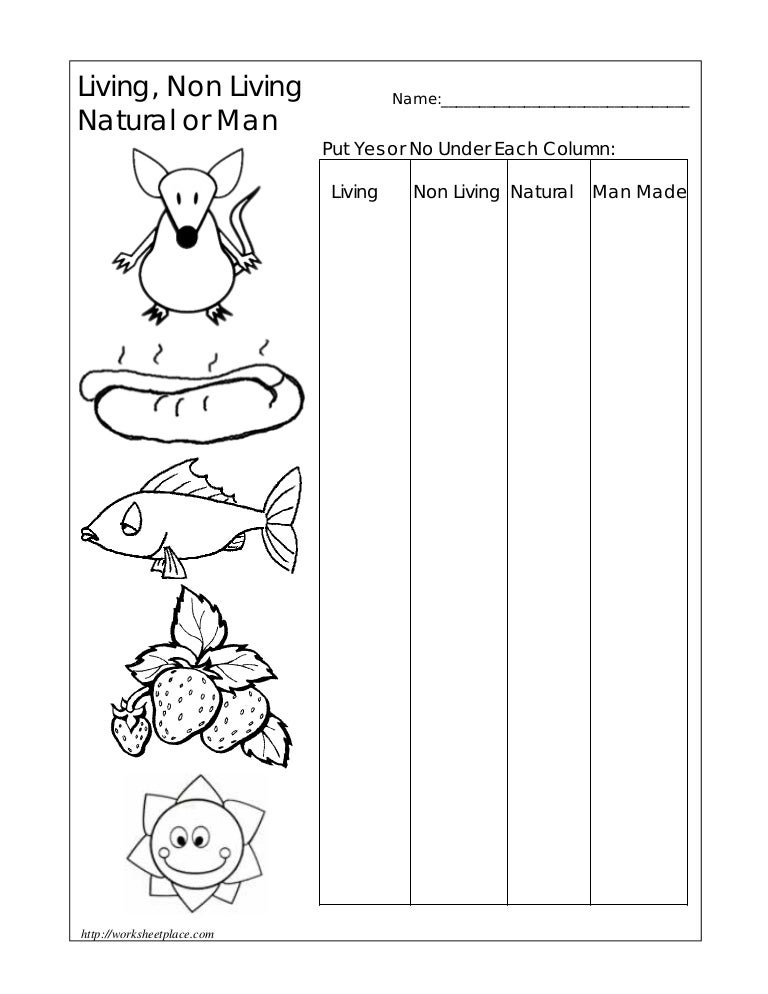 Non living things, Living Non-Living Worksheets Grade 1 - Talstern