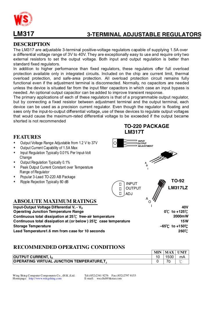 Lm 317 To 92 Datasheet Adjustable 3 Ampere Regulator