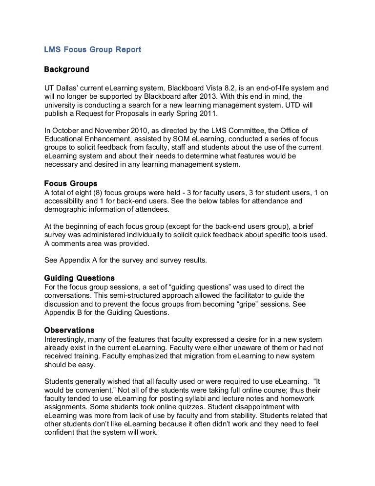 ferpa form utd  LMS Focus Group Report