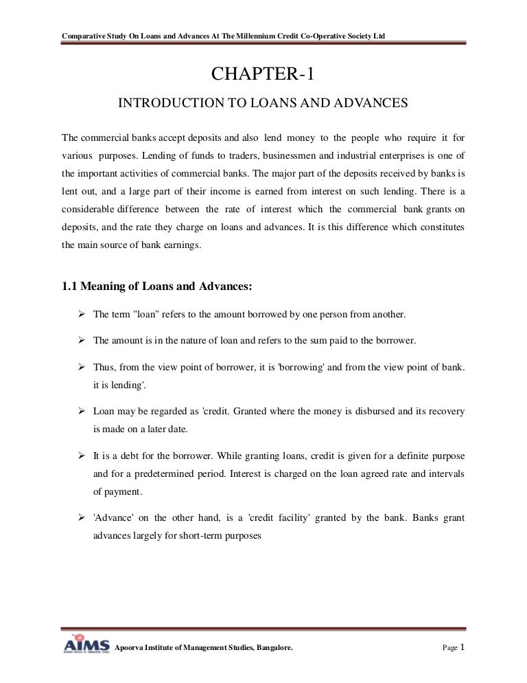 A Comparative Study On Loans And Advances