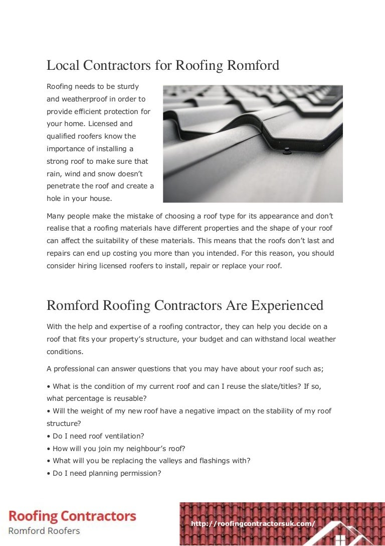 Local Contractors for Roofing Romford PDF