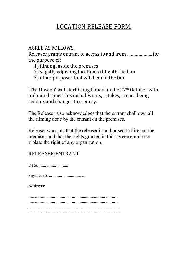 Location release form – Film Release Form