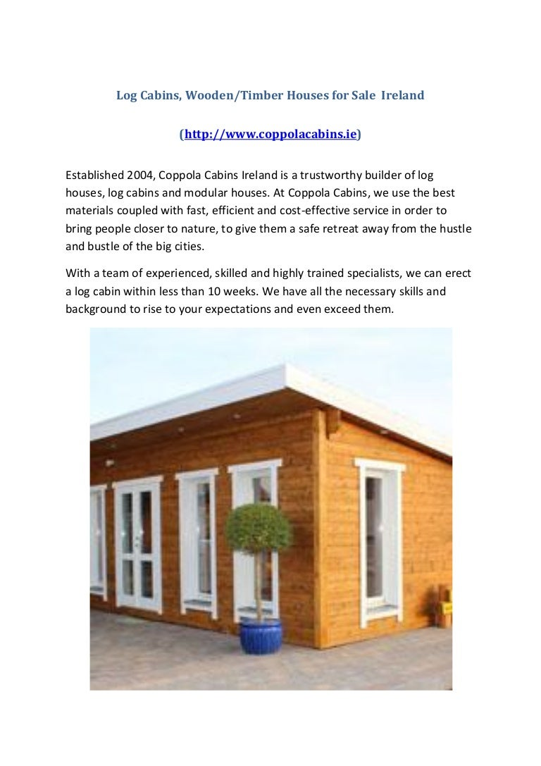 Log cabins, wooden, timber houses for sale ireland