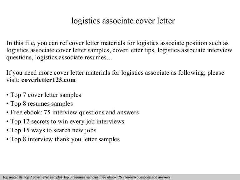 Logistics Associate Cover Letter. Ideas Collection Logistics