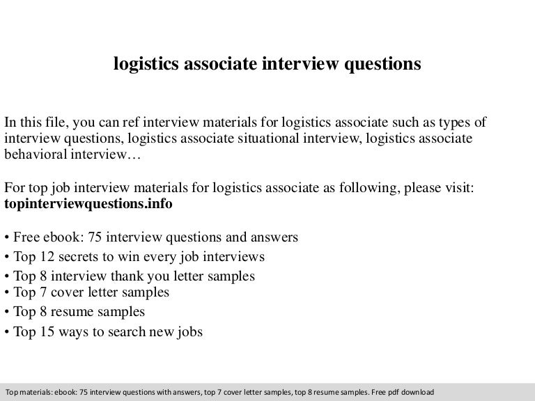 Logistics associate interview questions