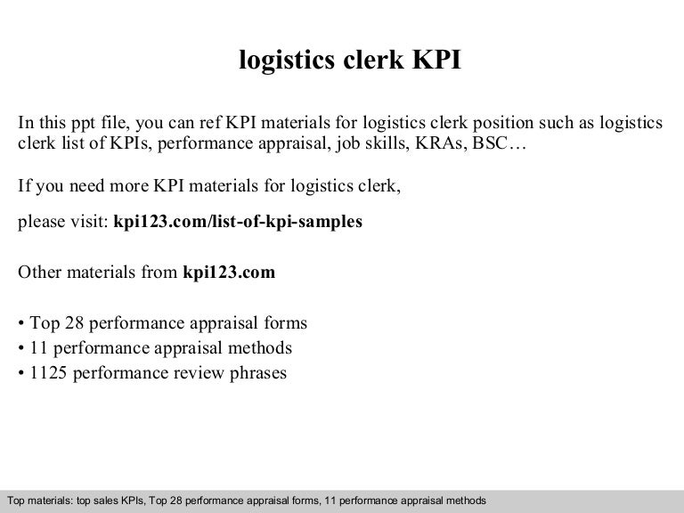 Logistics Clerk Kpi