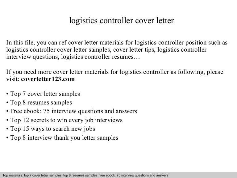 Logistics controller cover letter